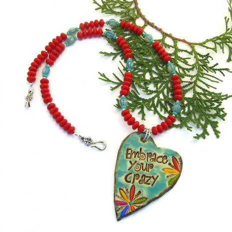 heart shaped embrace your crazy pendant necklace gift for her
