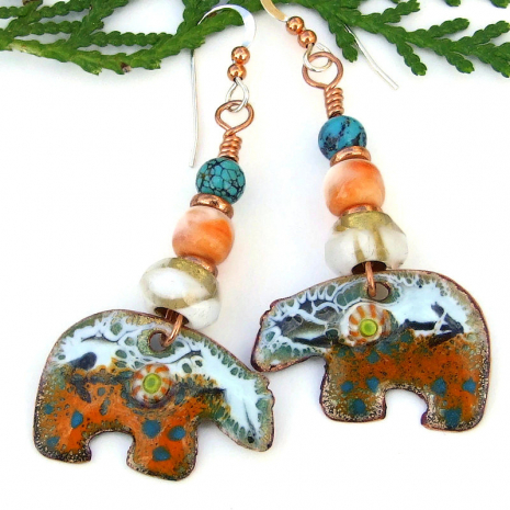 heartline bear earrings orange white turquoise enamel