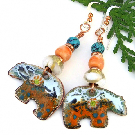 heartline bear jewelry orange white turquoise enamel