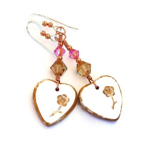 hearts flowers earrings valentines gift for women