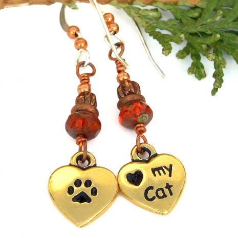 hearts love my cat earrings paw prints