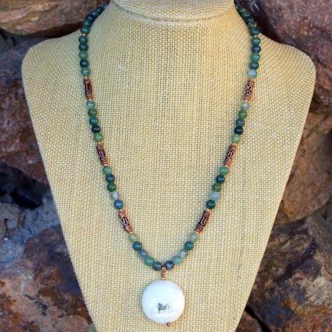 Unique gemstone necklace with a solar quartz pendant