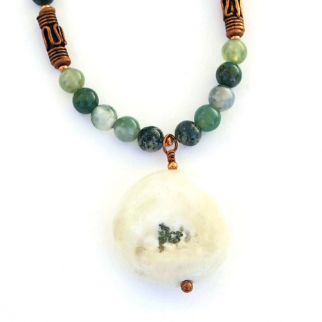 Solar quartz and moss agate necklace for her.