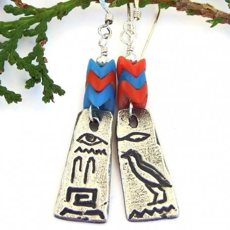 hieroglyphs and glass snake vertebrae dangle jewelry gift for her