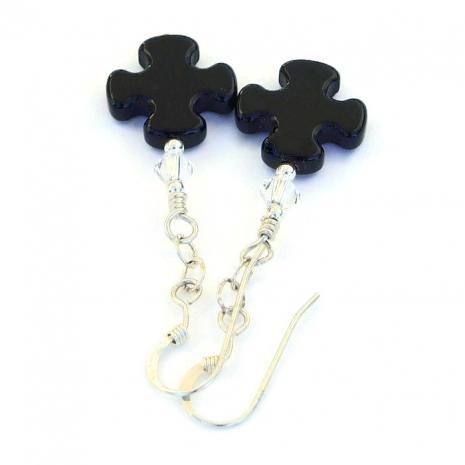 Black onyx cross earrings.