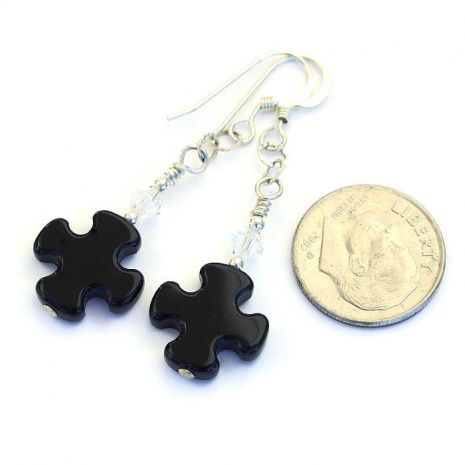 Black onyx and silver cross earrings.