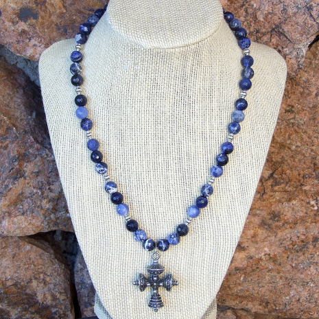 Tudor cross and blue sodalite necklace.