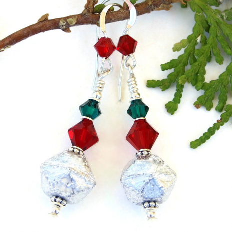 holiday christmas handmade jewelry silver red green