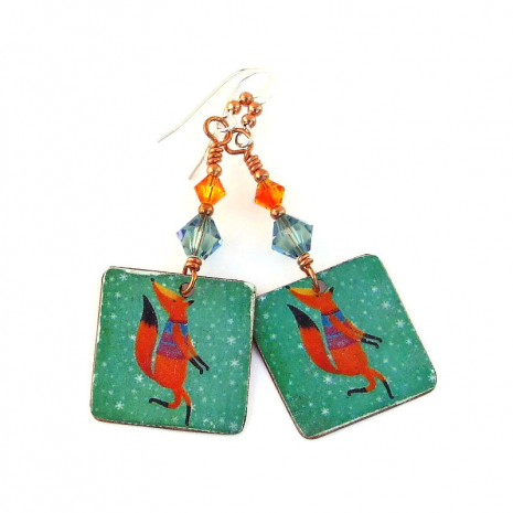 holiday fox handmade earrings christmas gift for women