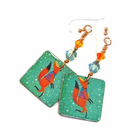 holiday fox handmade jewelry christmas gift for women