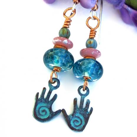 hopi spiral healing hand dangle earrings jewelry gift for women