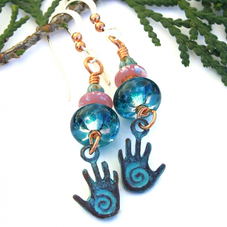 hopi spiral healing hand jewelry with teal lampwork