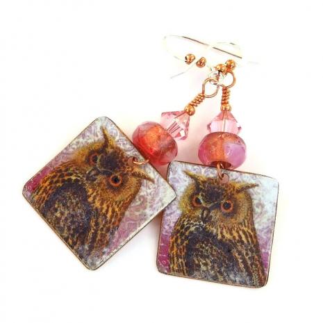 horned owl earrings gift for women