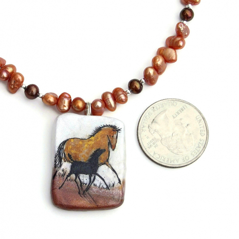 horse and foal pendant jewelry gift for her