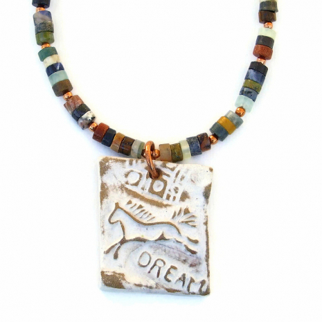 horse dream ceramic pendant jewelry gift for women