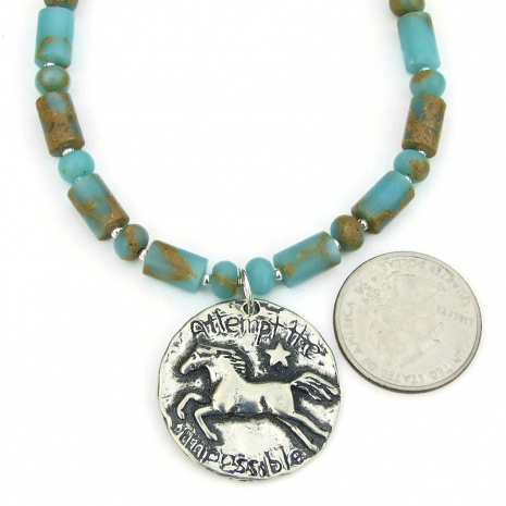 horse lover jewelry aqua terra jasper gift for her