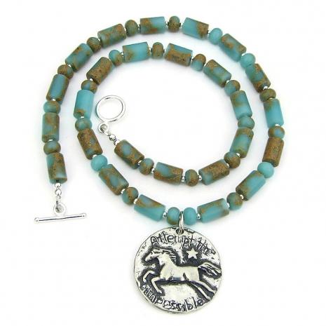 horse lover necklace aqua terra jasper gift for her