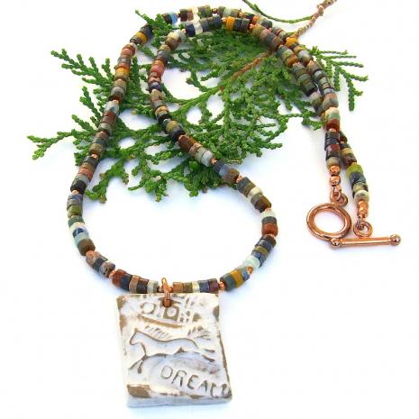 horse petroglyph dream necklace jewelry mixed gemstones
