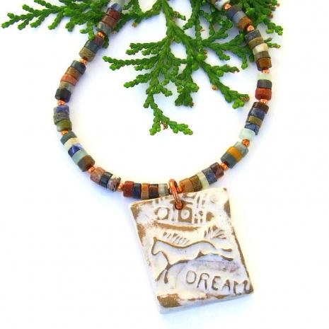 horse petroglyph dream pendant necklace mixed gemstones