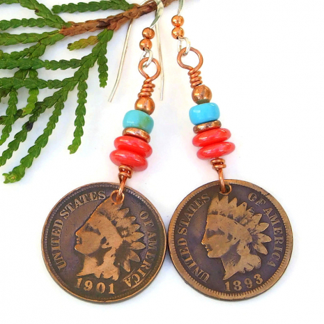 indian head copper penny coin earrings coral turquoise