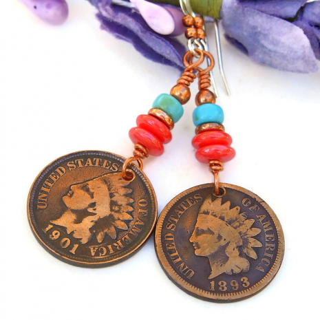indian head copper penny coin jewelry coral turquoise