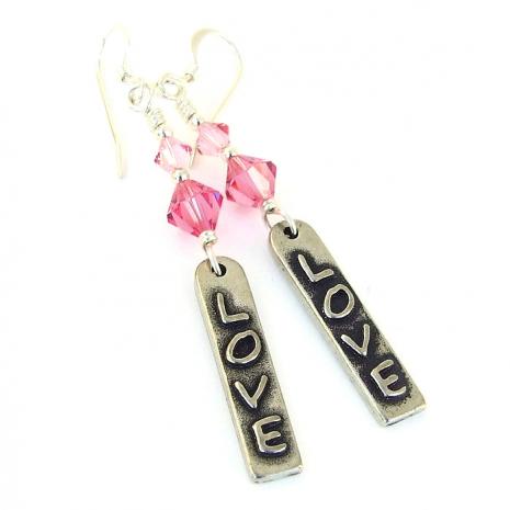 love earrings for her valentines gift