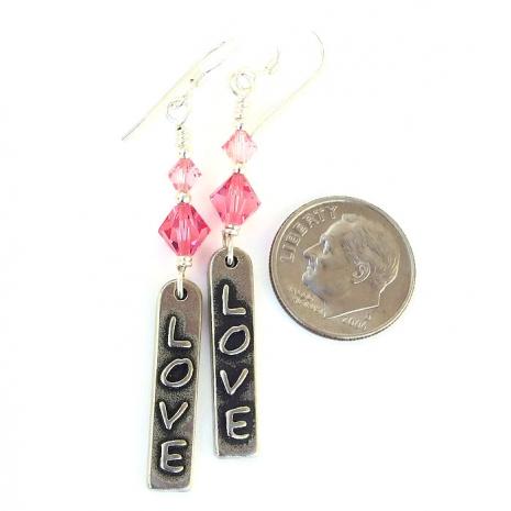 love word jewelry with pink swarovski crystals