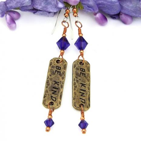 inspirational word earrings gift for women