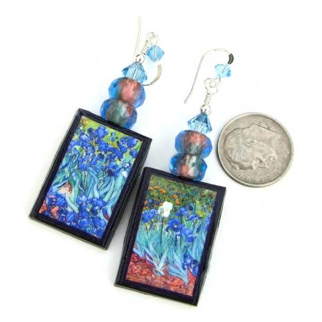 irises earrings art by van gogh