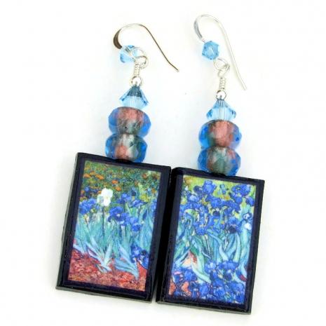 irises van gogh handmade art earrings gift for her