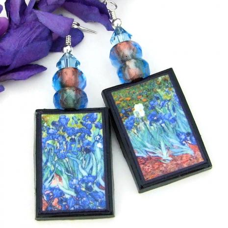 irises van gogh handmade art jewelry gift for her