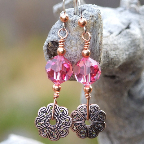 Copper and pink Valentines earrings.