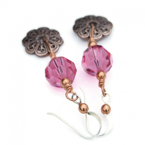 Copper filigree and rose pink jewelry.