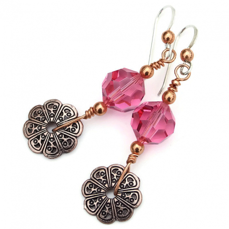 Pink and copper earrings.