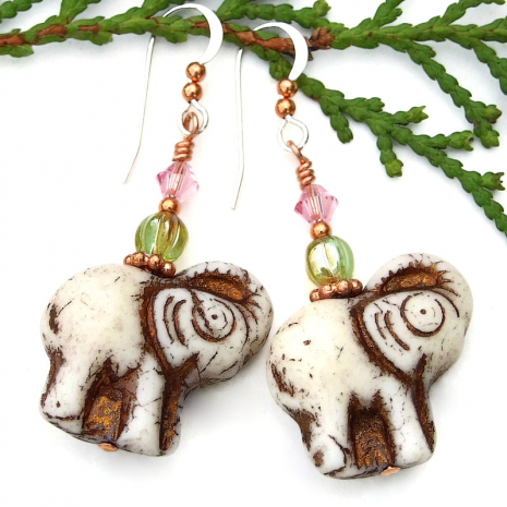 ivory and copper elephant earrings