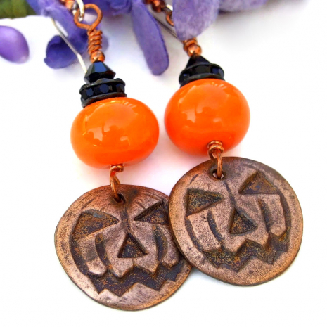 jack o lantern earrings halloween