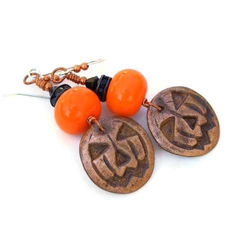 jack o lantern pumpkin earrings gift for women