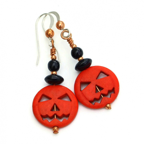 Jack O Lantern pumpkin earrings with black onyx and copper