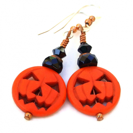 jack o lantern pumpkin halloween earrings gift for her