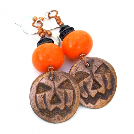 jack o lantern pumpkin jewelry gift for women
