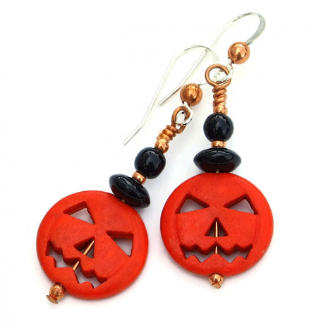 Jack O Lantern pumpkin jewelry with black onyx and copper