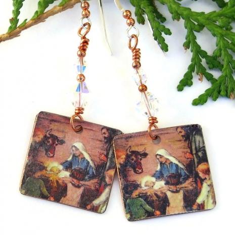 jesus in manger handmade christmas earrings with swarovski crystals