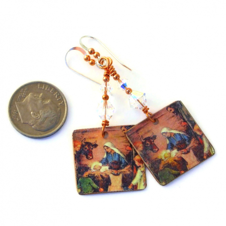 jesus mary joseph in manger at bethlehem earrings
