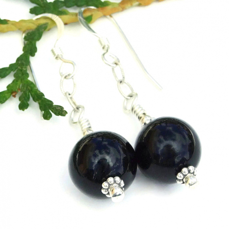 Black and silver earrings gift for women