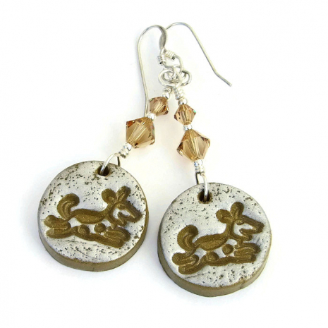 Joyful dog dangle earrings