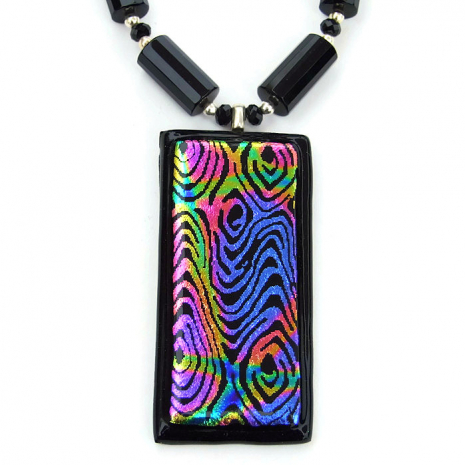 Artisan handmade dichroic and black onyx necklace.