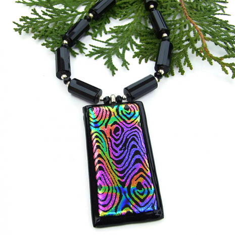 Colorful dichroic glass necklace.