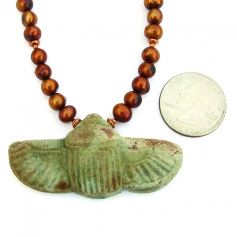 Artisan handmade sacred scarab and pearl necklace.