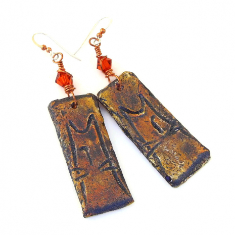 kitty cat boho grunge polymer clay dangle earrings