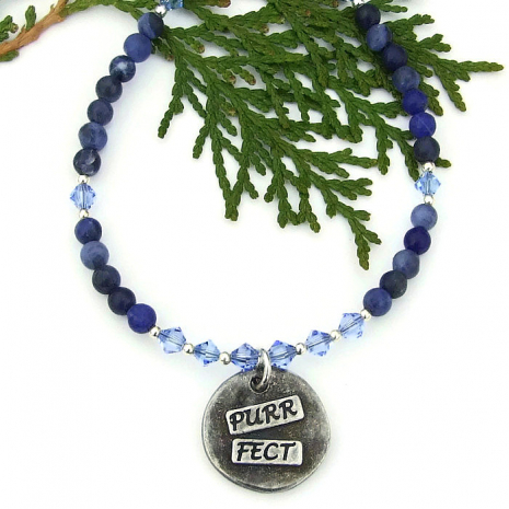 cat jewelry with blue sodalite gemstones and Swarovski crystals